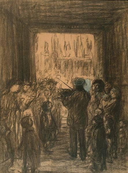 Crowd listening to fiddler - Theophile Steinlen