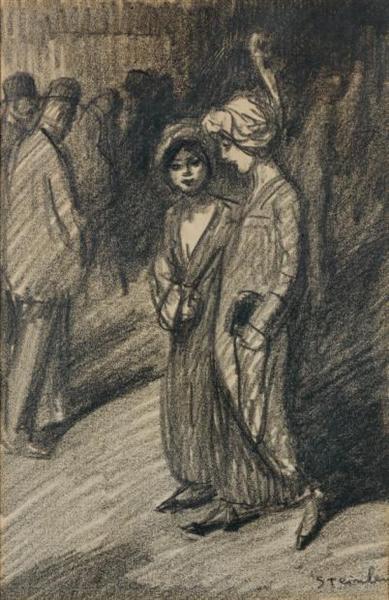 Deux Jeunes Filles Se Promenant - Theophile Steinlen