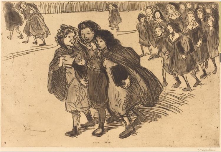 Gamines Sortant de L'Ecole, 1911 - Theophile Steinlen
