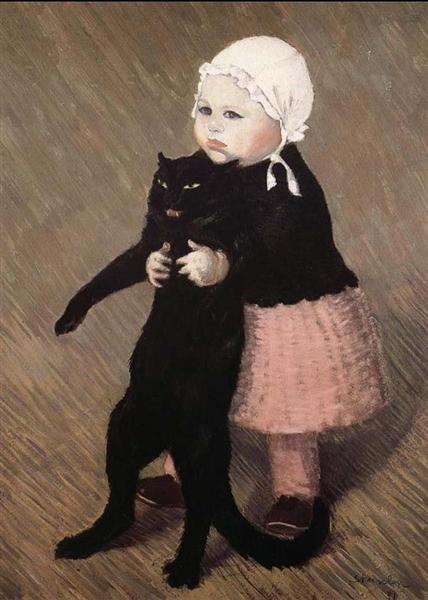 Girl with Cat - Theophile Steinlen
