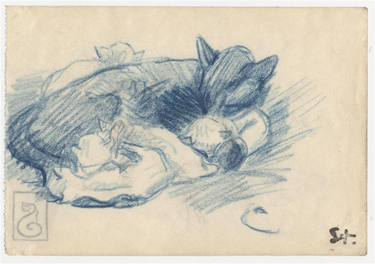 Sleeping cats - Theophile Steinlen