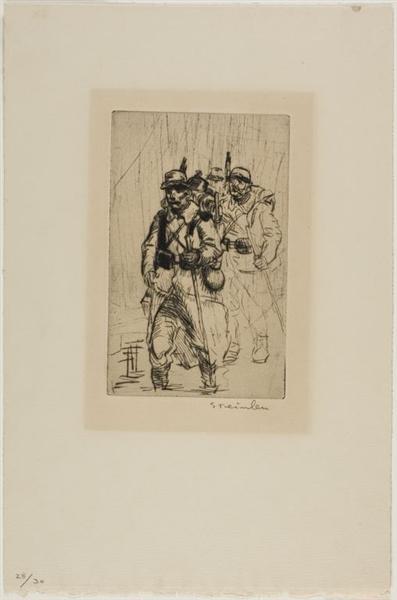 Soldats Sous La Pluie et Dans Les Fondrieres, 1915 - Theophile Steinlen