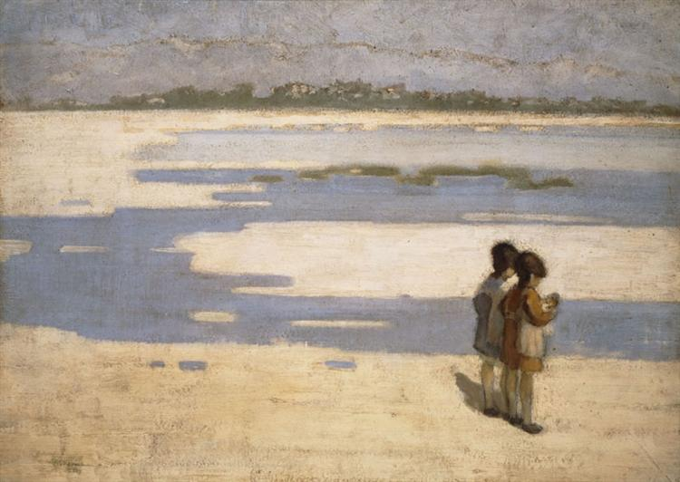 Two Children on the Beach, 1919 - Theophrastos Triantafyllidis