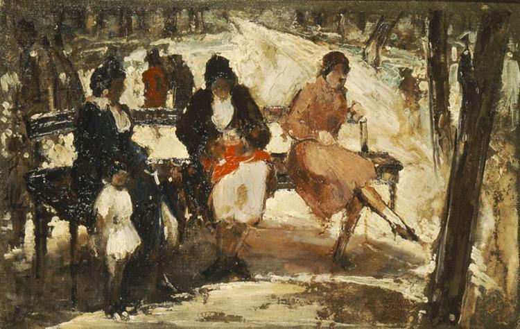 Women in the Royal Gardens - Theophrastos Triantafyllidis