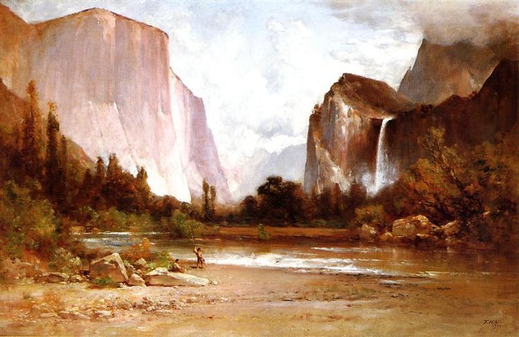 Piute Indians Fishing in Yosemite, 1900 - Thomas Hill