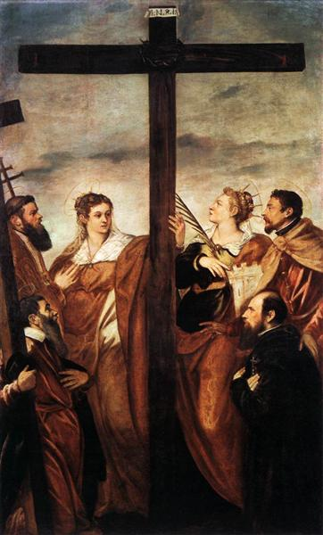 Sts Helen and Barbara Adoring the Cross - Tintoretto
