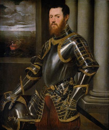 Young man in a gold decorated suit of armour, 1555 - 1556 - Tintoretto
