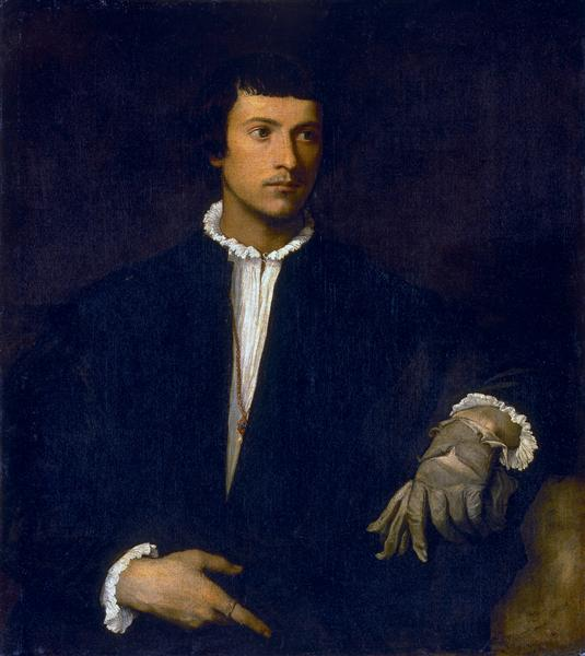 Man with a Glove, c.1520 - Ticiano Vecellio