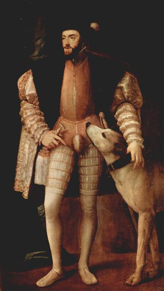 Portrait of Emperor Charles V with dog - Titian