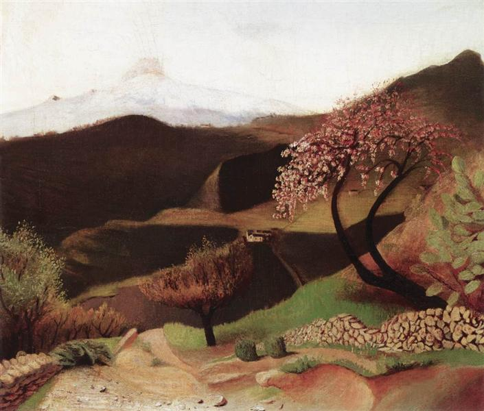 Blossoming Almonds (Landscape in Italy), 1902 - Tivadar Kosztka Csontvary