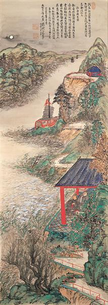 Abe-no-Nakamaro Writing Nostalgic Poem While Moon-viewing, 1918 - Tomioka Tessai