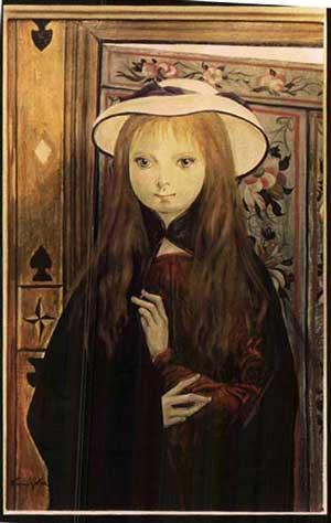 Girl with a Hat - Tsuguharu Foujita