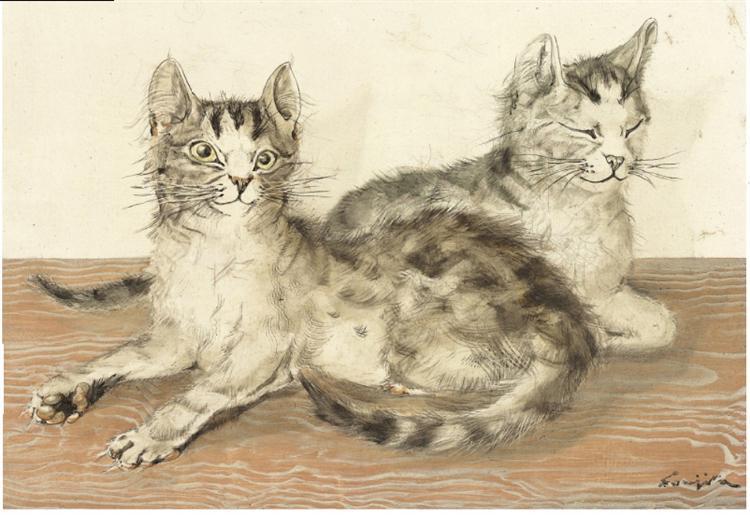 Les deux chats - Tsuguharu Foujita