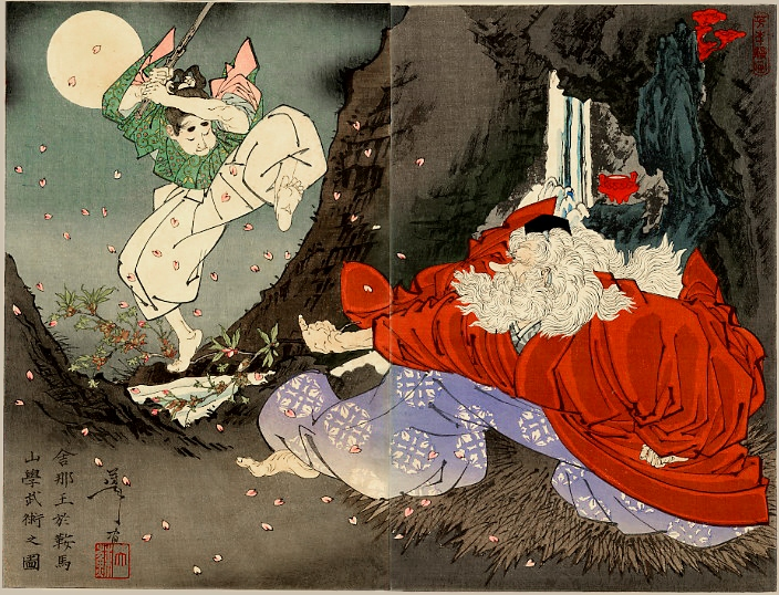 Sojobo Instructs Yoshitsune in the Sword - Цукуока Йосітосі