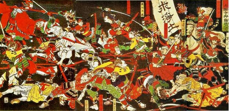Tokugawa with help from the Jodo monks of the Daijuji temple in Okizaki, defeats the Ikkō ikki at the battle of Azukizaka - Tsukioka Yoshitoshi