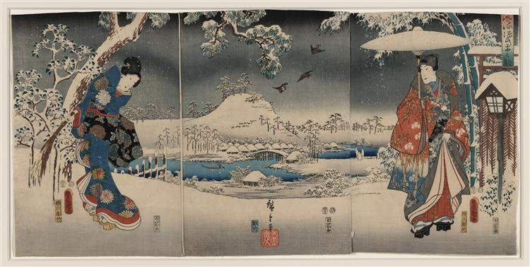 Snowy landscape with a woman brandishing a broom and a man holding an umbrella - Utagawa Kunisada