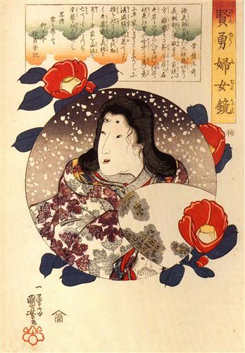 Tokiwa Gozen in the snow - Utagawa Kuniyoshi