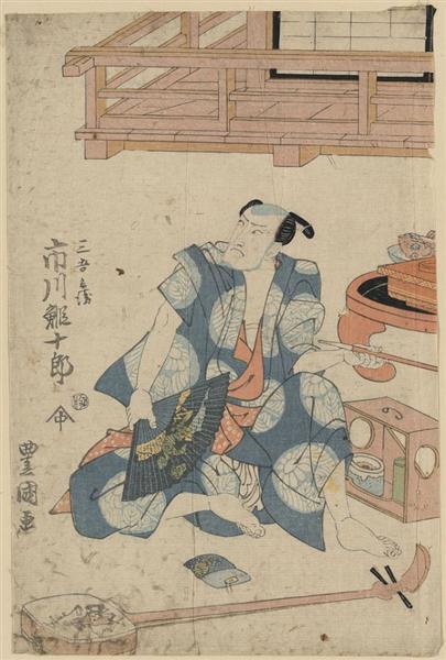 Actor Ichikawa Ebijuro, seated on floor with shamisen at his feet, 1818 - Utagawa Toyokuni