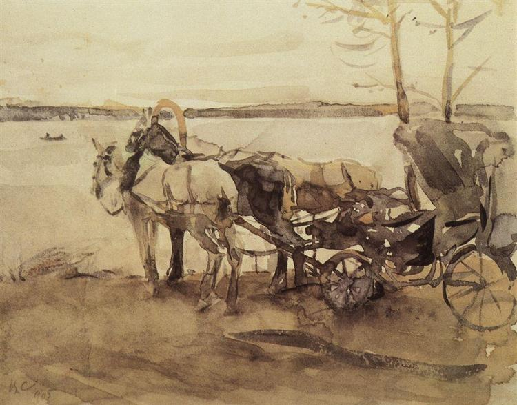 At the ferry, 1905 - Valentin Serov
