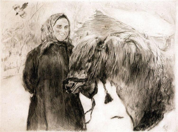 In a Village. Peasant Woman with a Horse, 1899 - Valentin Serov
