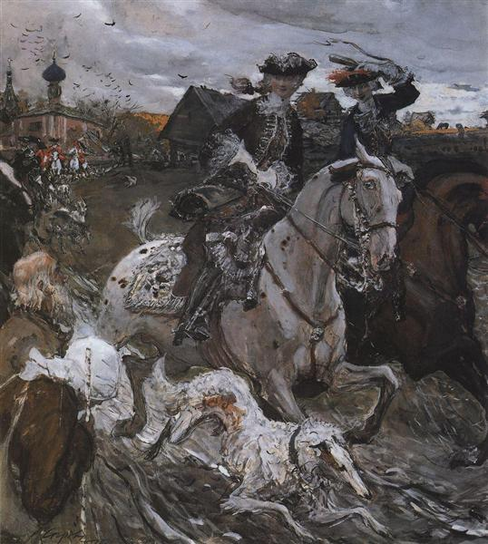Peter II and Princess Elizabeth Petrovna Riding to Hounds, 1900 - Valentin Serov