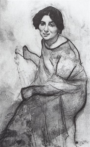 Portrait of the pianist Wanda Landowska, 1907 - Valentin Serov