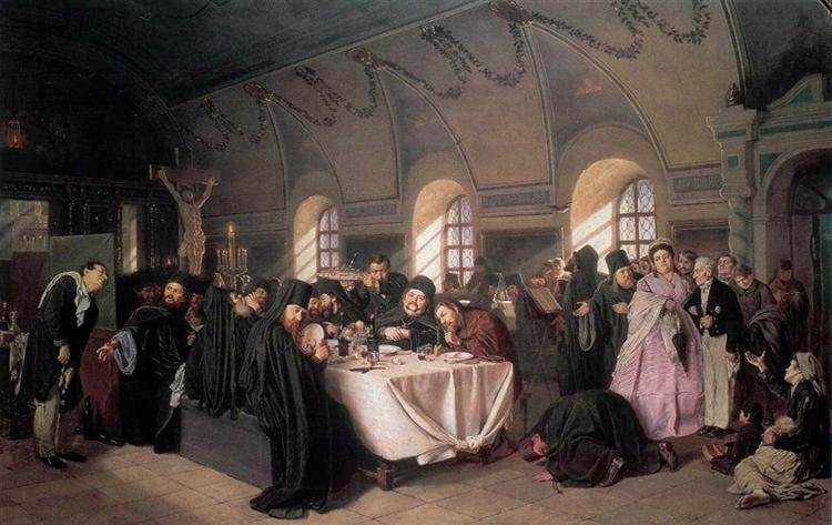 A Meal in the Monastery, 1865 - 1876 - Vasily Perov