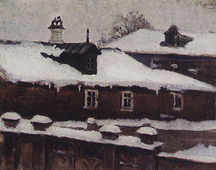Rooftops in winter, c.1885 - Vasily Surikov