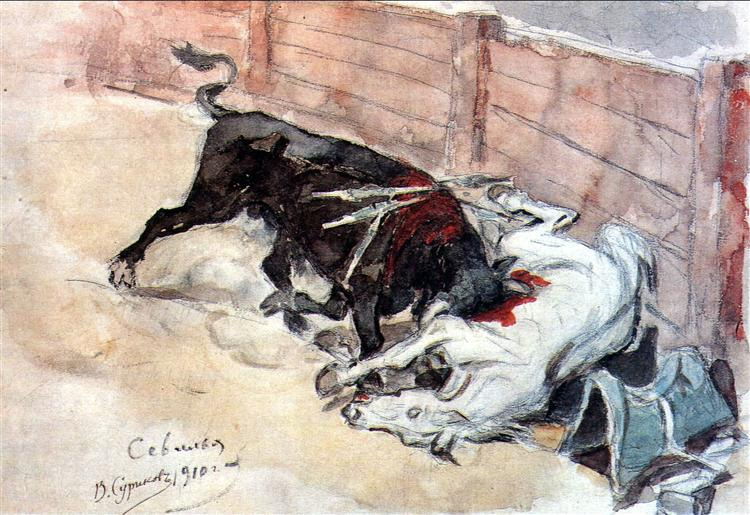 Seville. The bullfight., 1910 - Vasily Surikov
