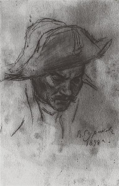 Soldier's head in a cocked hat, 1898 - Vasily Surikov