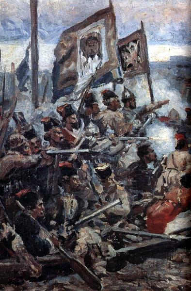 """Study to """"The Conquest of Siberia by Yermak"""" - Vasily Surikov"""