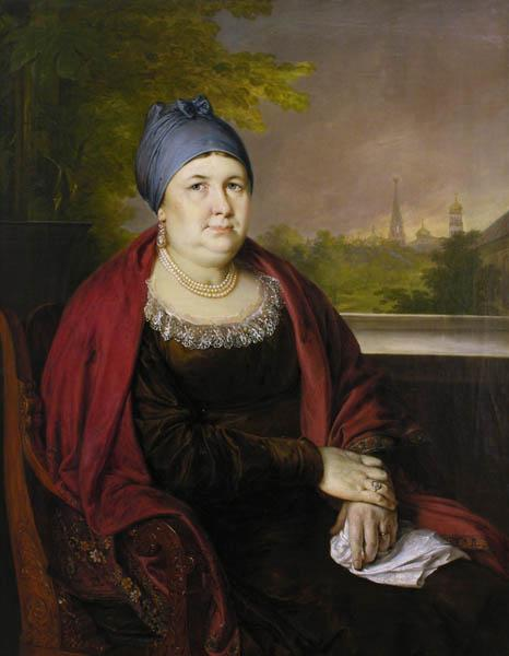 Portrait of a widow in a blue povoynik, 1830 - Vasily Tropinin