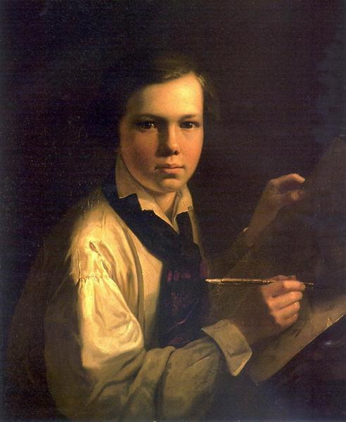 Portrait of the Artist's Son the easel, 1820 - Vasily Tropinin