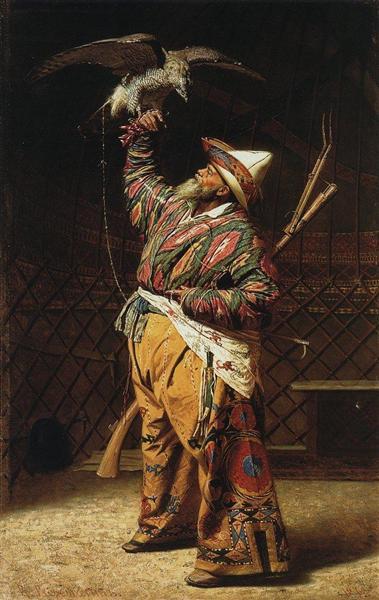 A rich Kyrgyz hunter with a falcon, 1871 - Vasily Vereshchagin