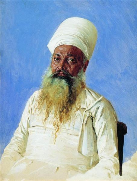 Parsi priest (fire-worshiper). Bombay, 1874 - 1876 - Vasily Vereshchagin