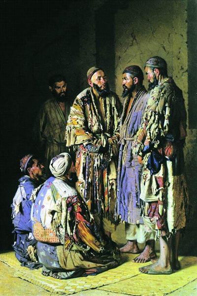 Politicians in opium shop. Tashkent., 1870 - Wassili Wassiljewitsch Wereschtschagin