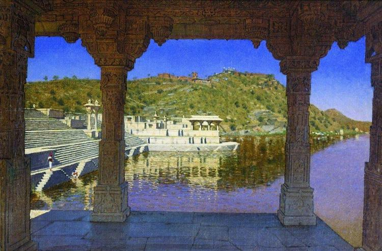 Radzhnagar. Marble, adorned with bas-reliefs quay on the lake in Udaipur, 1874 - Vasily Vereshchagin