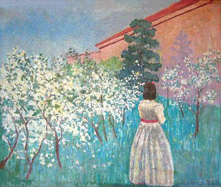 A garden in Blossom, c.1900 - Victor Borisov-Musatov
