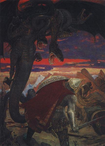 Fight Dobrynya Nikitich with seven headed serpent Hydra, 1913 - 1918 - Viktor Vasnetsov