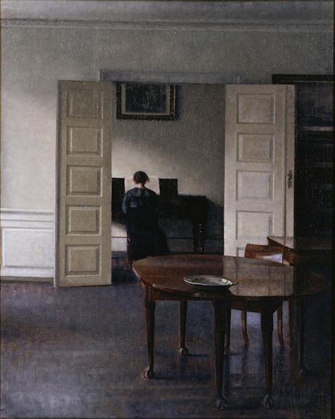 Interior with Ida Playing the Piano, 1910 - Vilhelm Hammershoi