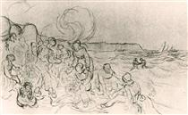 A Group of Figures on the Beach - Vincent van Gogh