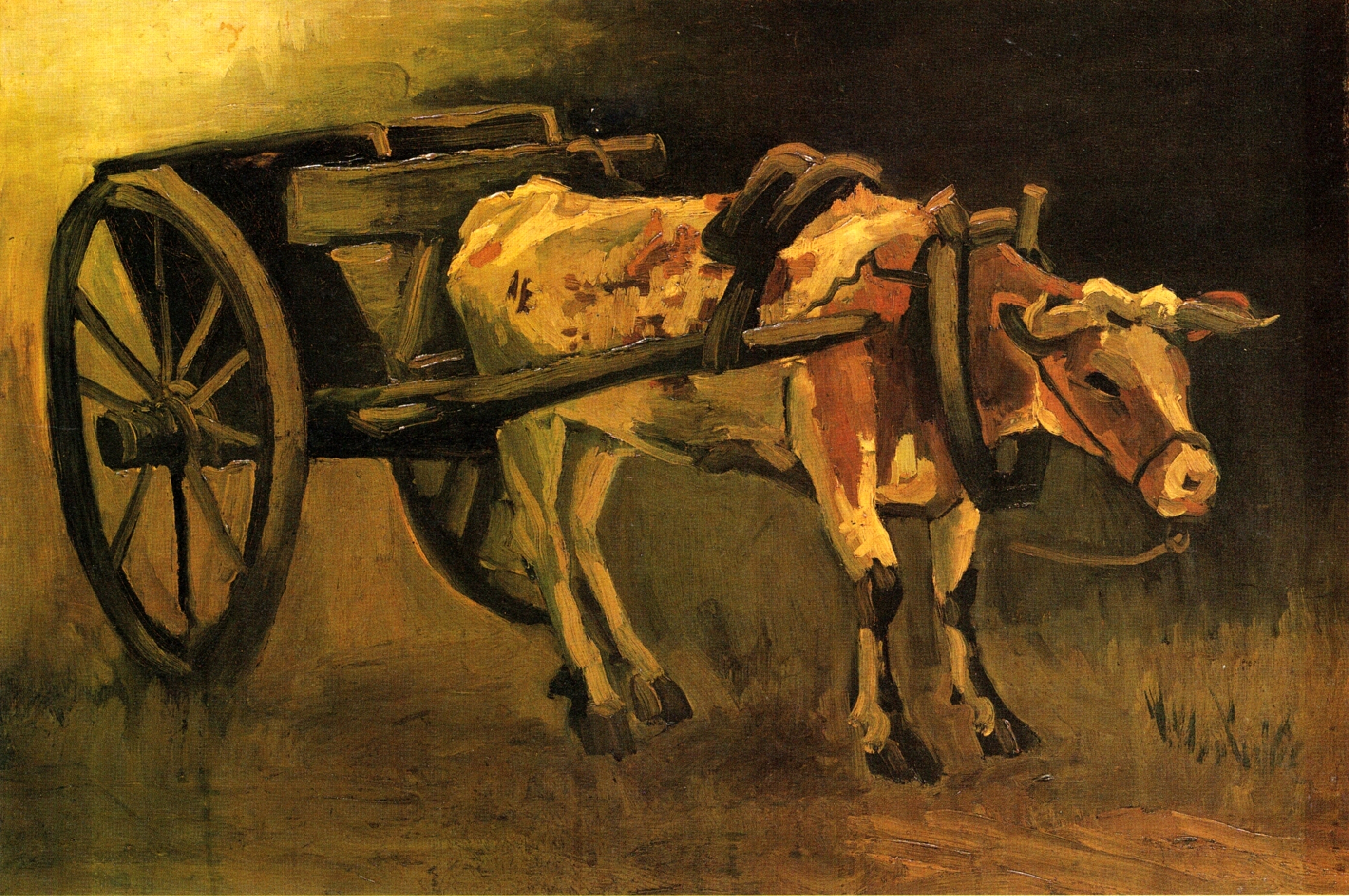 Cart with Red and White Ox Painting   Vincent Van Gogh Oil