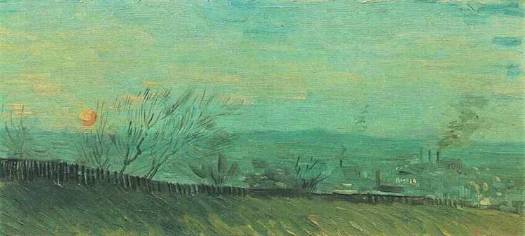 Factories Seen from a Hillside in Moonlight, 1887 - Vincent van Gogh