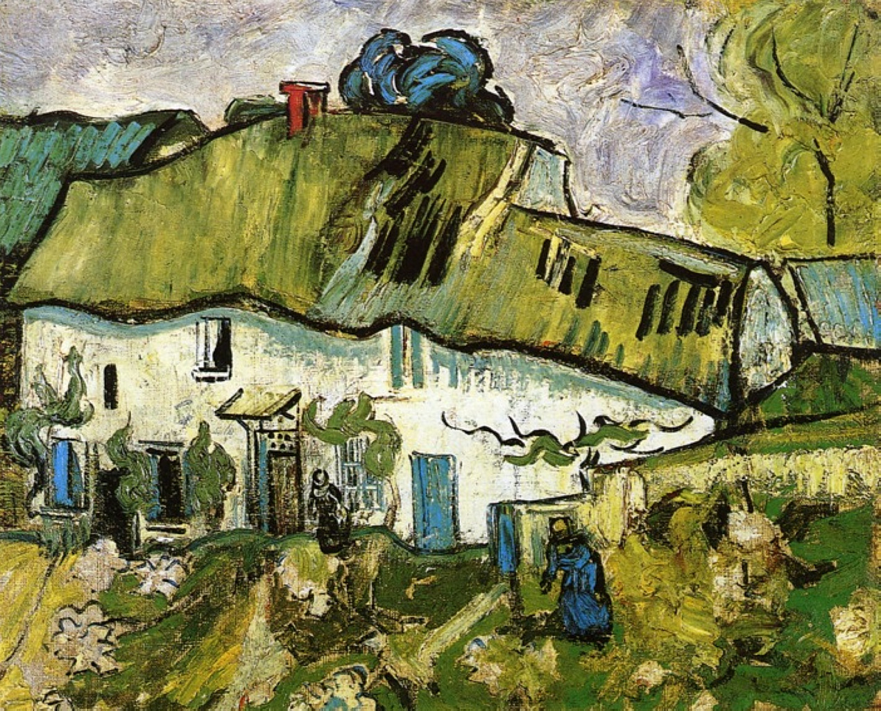 Farmhouse With Two Figures 1890 Vincent Van Gogh