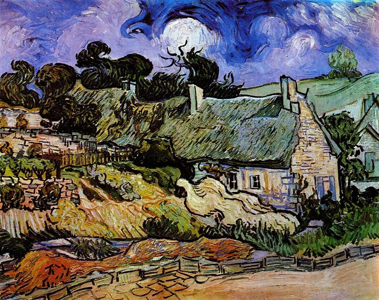 Houses with Thatched Roofs, Cordeville, 1890 - Vincent van Gogh