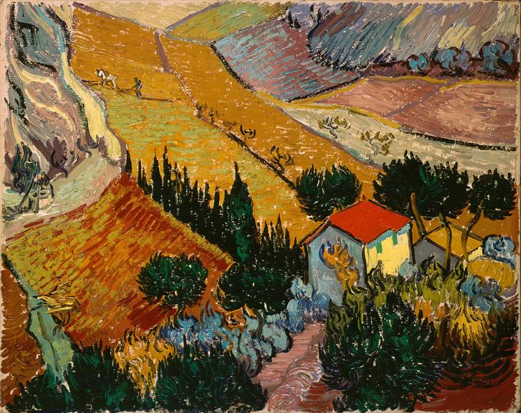 Landscape with House and Ploughman, 1889 - Vincent van Gogh