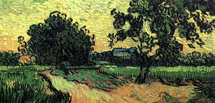 Landscape with the Chateau of Auvers at Sunset, 1890 - Vincent van Gogh