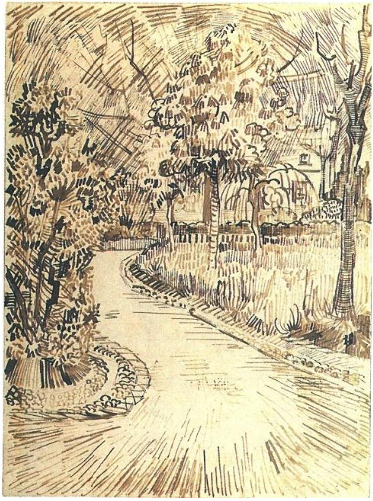 Line Art Van Gogh : Public garden with a corner of the yellow house