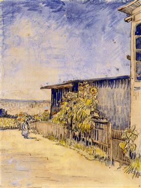 Cobertizo con girasoles, Vincent van Gogh