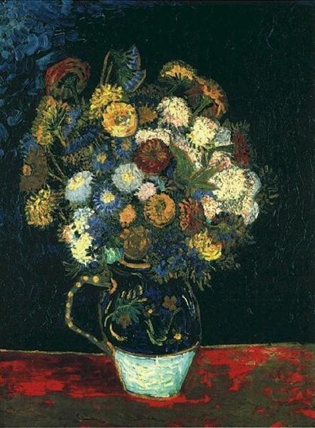 Still Life Vase With Zinnias 1888 Vincent Van Gogh